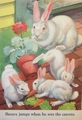 MOTHER Bunny Rabbit WHITE BUNNIES  EASTER Eating Lunch VINTAGE PRINT 1929 FARM
