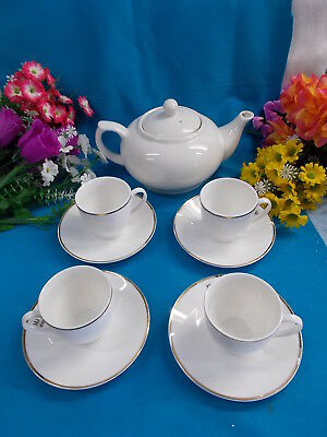 Mayfair And Jackson White Teapot With 4 Cups And Saucers - Excellent Cond # 28
