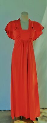 1970's Red Jersey evening dress by 'Nicole Fashions of Sydney', size 10.