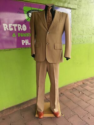 I970's Polyester 2 piece suit, Wide Lapels and flares size S.