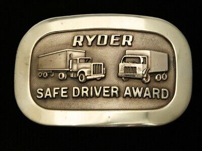 QG25143 VINTAGE 1970s **RYDER SAFE DRIVER AWARD** SOLID BRASS BELT BUCKLE