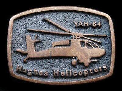 RI09150 VINTAGE 1970s **YAH-64 HUGHES HELICOPTERS** SOLID BRONZE BELT BUCKLE