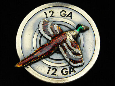 Pi05165 Vintage 1980 **Pheasant** 12 Ga Hunting Commemorative Belt Buckle