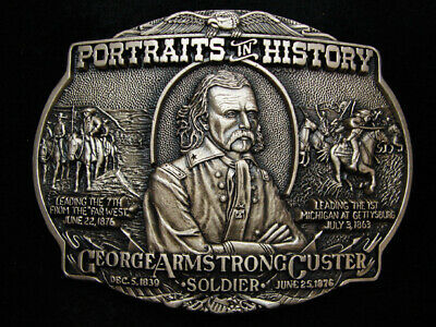 PD03173 *NOS* VINTAGE 1980s **GEORGE ARMSTRONG CUSTER** SOLID BRASS BELT BUCKLE