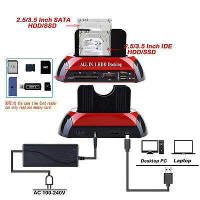 "2.5/3.5"" SATA IDE Dual Hard Drive HDD Docking Station USB HUB Dock Card ReaderFE"