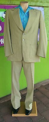 1970's Wool/Polyester 2pc Suit, Wide Lapels and Flared Pants, Size M