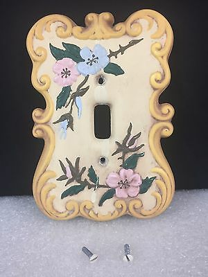 Vintage HOLLAND MOLD Light Switch Cover - Single Switch - Floral Design Ceramic