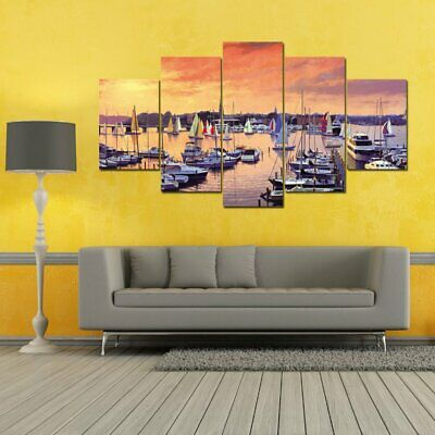 Wall Art Canvas Prints Paintings 5 Pieces/SET Sunset Seaside Ship Pictures PZ