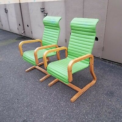 Mid Century Modern Thonet Industries Bentwood Lime Green Retro Lounge Chairs