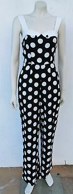 Banned Appearl Jumpsuit, Black and white Polka-Dot (last one L)