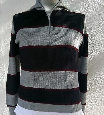 Men's Zip front striped Acrylic pullover, USA, Size M
