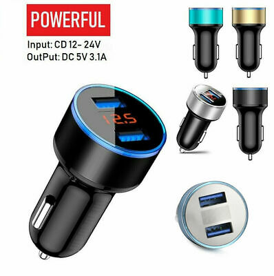 LED Dual USB Car Charger 2 Port Adapter Cigarette Socket Lighter For Cell Phones