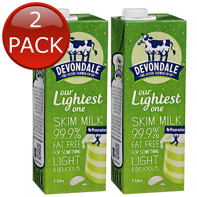 2 x DEVONDALE LONG LIFE SKIM MILK NO PRESERVATIVES HEALTHY DELICIOUS AUS 1L