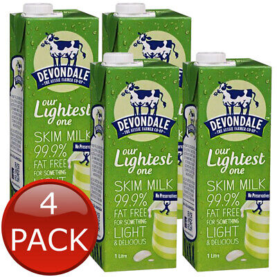 4 x DEVONDALE LONG LIFE SKIM MILK NO PRESERVATIVES HEALTHY DELICIOUS AUS 1L