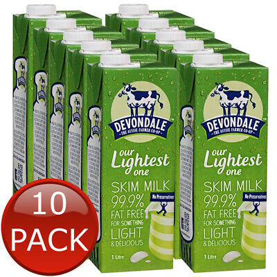 10 x DEVONDALE LONG LIFE SKIM MILK NO PRESERVATIVES HEALTHY DELICIOUS BULK 1L