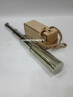 Vintage Handmade Brass Telescope Marine Collectible With White Leather Box
