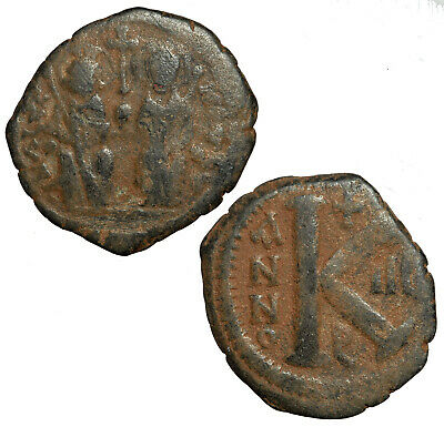 Byzantine half follis of Justin II with Sophia from Constantinople.