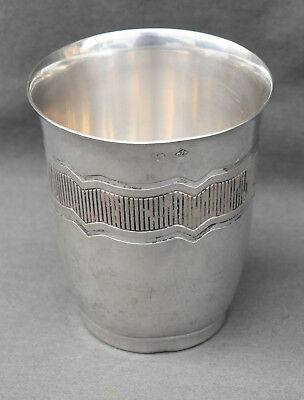 GRANDE TIMBALE EN ARGENT MASSIF MINERVE ART DECO ( french silver cup )