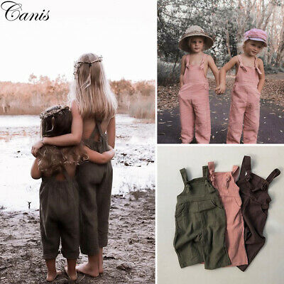 Causal Toddler Kid Baby Girl Overall Romper Jumpsuit Playsuit Long Pants Clothes
