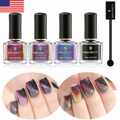 5pcs BORN PRETTY Magnetic Nail Polish Holographic Chameleon Varnish Black Base