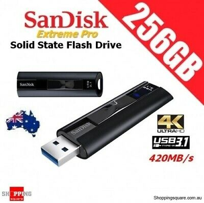 SanDisk Extreme Pro 256GB USB 3.1 Solid State Flash Drive 420MB/s 4K Ultra HD