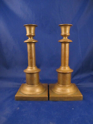 rare antique 18c RUSSIAN SIGNED BRASS CANDLESTICKS candles