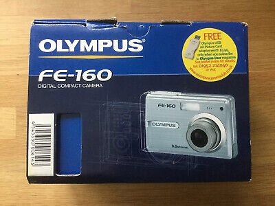 Olympus FE FE-160 6.0MP Digital Camera - Silver.  Charger Case and Card.