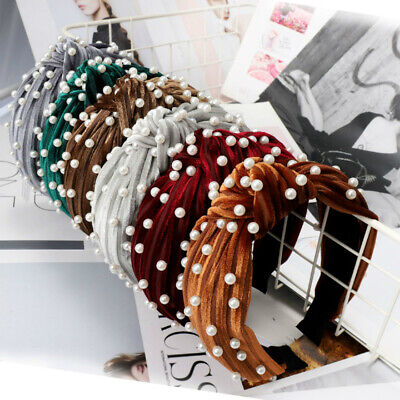 Women's Velvet Headband Hair Bands Pearl Wide Knotted Headband Hair Accessories