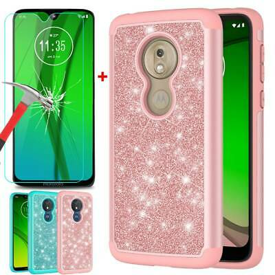 Bling Shockproof Case Cover For Motorola Moto G7 Tempered Glass Screen Protector