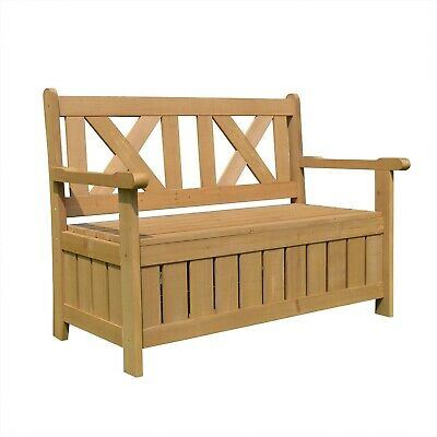 Wooden Garden Storage Bench - Outdoor 2 Seater Bench Seat with Storage