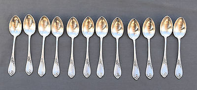 12 Cuilleres A Cafe Argent Massif Minerve (Silver Coffee Spoons) Style Louis Xv