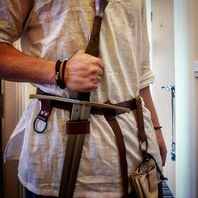 Handmade leather adventure belt with pouch and rings for larp, viking, medieval