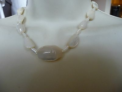#1222  vtg  costume necklace MOTHER OF PEARL