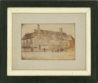 Framed Mid 19th Century Photograph - Victorian Figures by a House