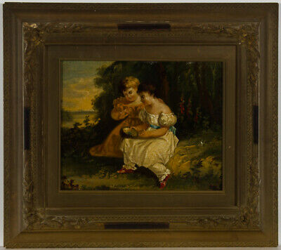 Framed 19th Century Oil - Two Children with a Birds Nest