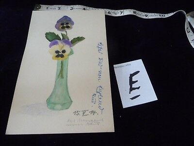#927E  antique Hand painted  water colour  Signed  # ?  FLOWERS  Pansies