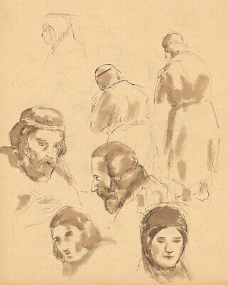 Late 19th Century Pen and Ink Drawing - Portrait Studies