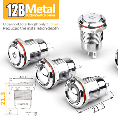 Stainless Steel,Chrome 12mm Waterproof Momentary Small Switch Button With Light