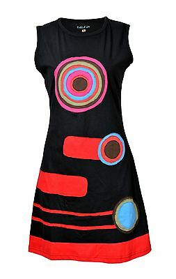 Tattopani Women Summer Sleeveless Dress With Multicolor Patch Design