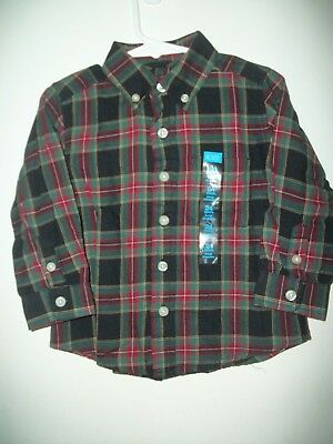 NWT THE CHILDREN'S PLACE Boys Size 24 Mo. Plaid Button Down Dress Shirt - NEW