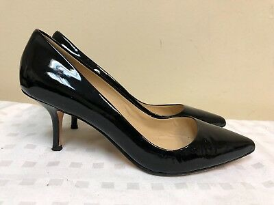069baaaecc12 Ann Taylor pumps Women low kitten Heel pointy Slip-on black leather shoes  SZ 6M