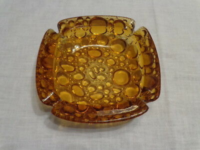 "Vintage Amber Pebbles Glass 6"" Square Ashtray"