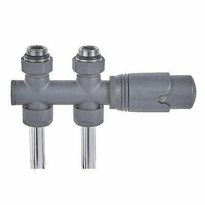 50mm Connection Straight Anthracite Thermostatic TRV Radiator Towel Rail Valve