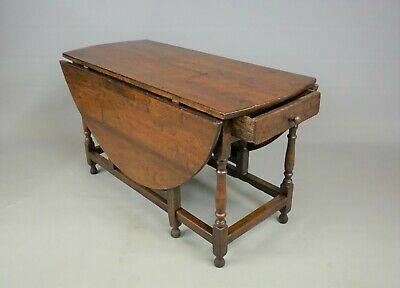 Antique Large Georgian 18th Century Oak Gate Leg Drop Leaf Dining Table