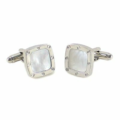 New Classic Soft Square Mother of Pearl Screw Head Pattern Border Cuff link 0575