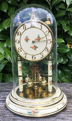 Vintage Kundo 400day Anniversary Clock Brass & Floral Design Untested