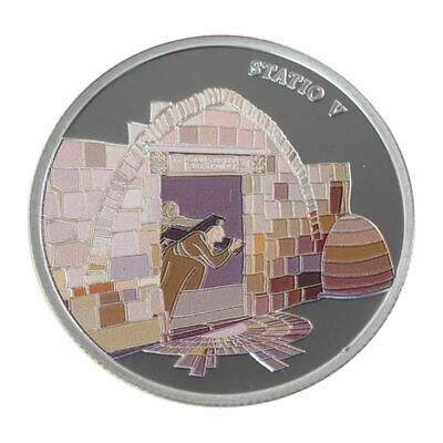 1 Oz silver.999 Medal - Via Dolorosa Stations - Simon helps Jesus carry cross