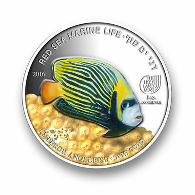 1 Oz Silver.999 Coin - Red Sea Marine Life -  Emperor Angelfish - The Holy Land