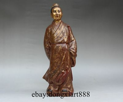 "Chinese Brown Porcelain Pottery Eight Lmmortals Figural ""Han Xiangzi"" God Statue"