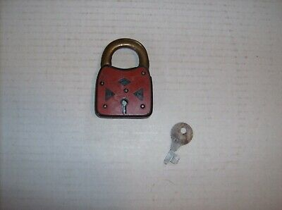 Antique Vintage Red & Black 6 Six Lever Padlock Lock & Key Made In USA